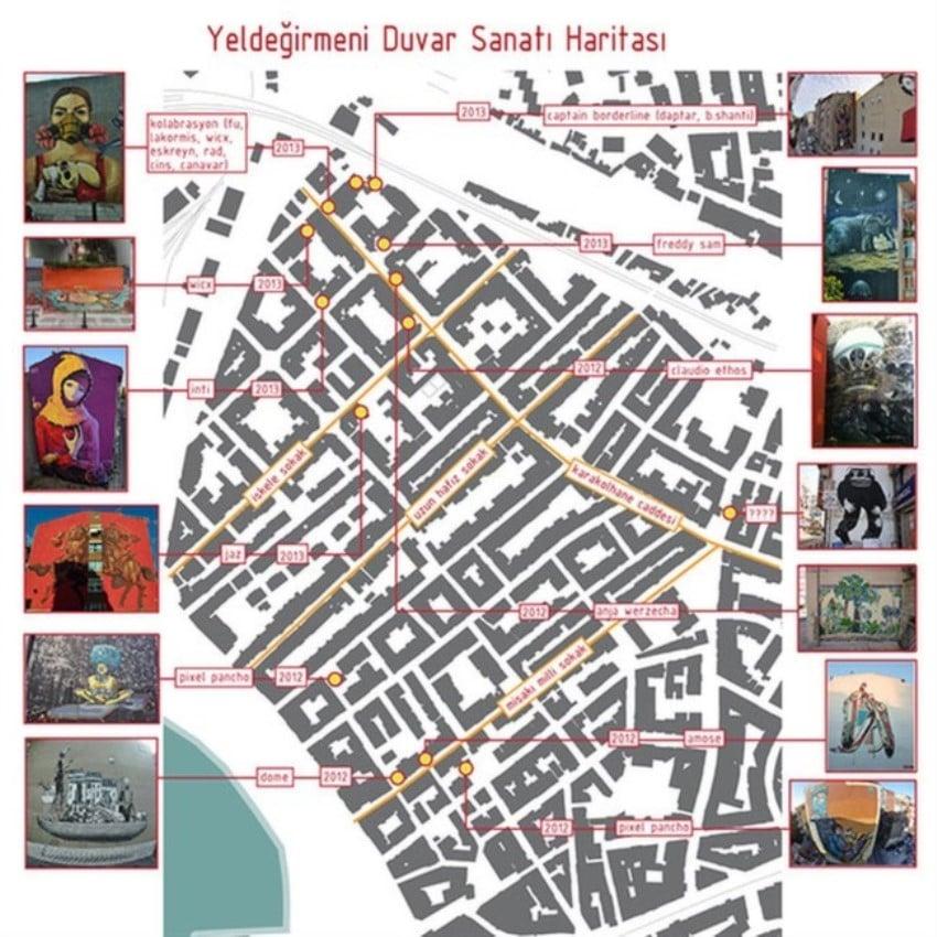 Kadıköy Yeldeğirmeni Duvar Sanatı Eser Haritası